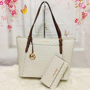 Michael Kors Vanilla Tote Bag And Trifold Wallet